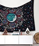 Popular Handicrafts Sun Moon Bohemian Psychedelic Intricate Floral Design Indian Bedspread Magical Thinking Tapestry 54x82 Inches,(140x210cms) Black Turquish