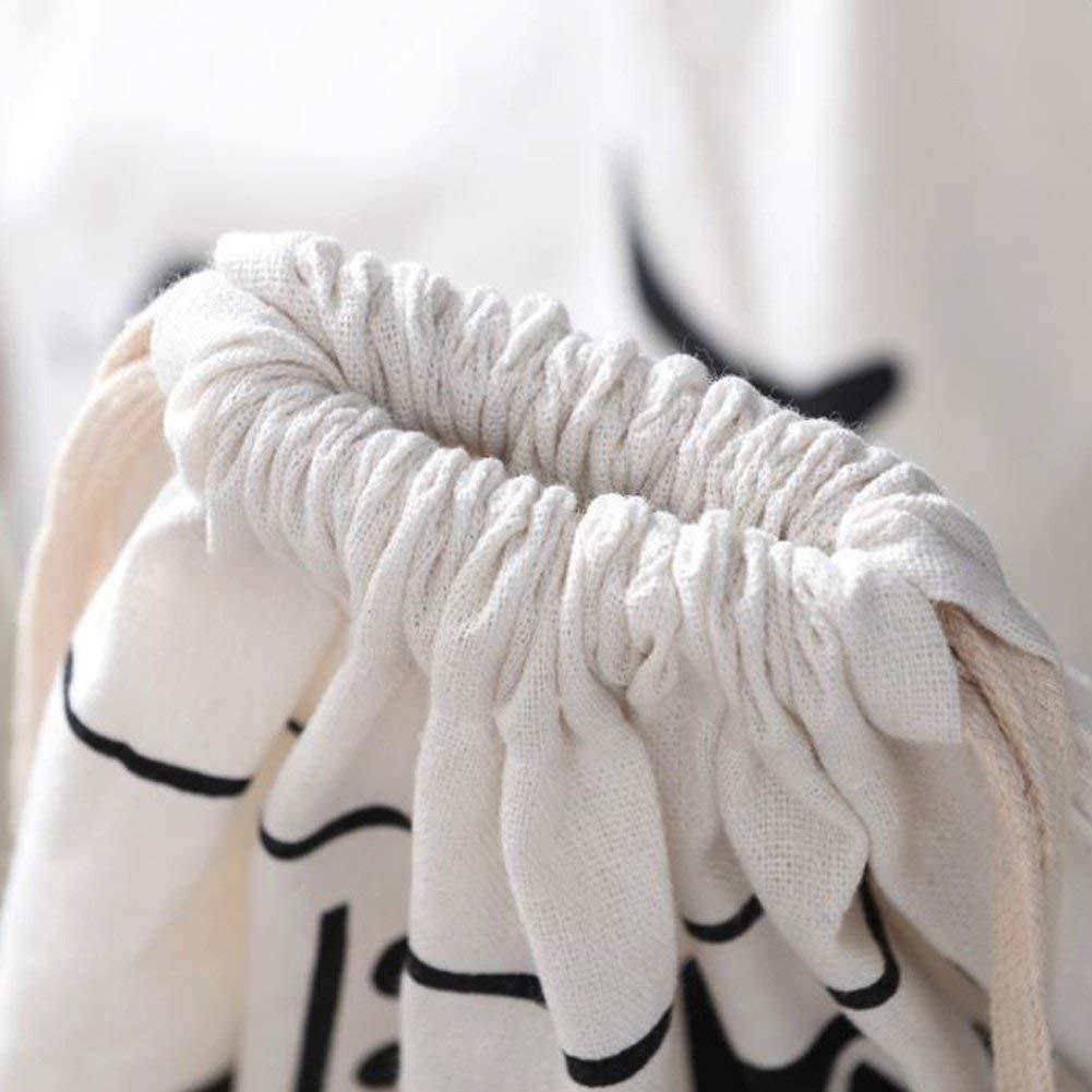 Kotila Grand Sac de Rangement en Toile 65 x 45 cm avec Cordon de Serrage pour v/êtements Sac de Voyage Sac de Gym Grand Rangement v/êtements Panier /à Linge Linge Jouets /à Suspendre.