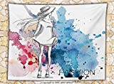 Girly Decor Fleece Throw Blanket Sketchy Fashion Lady with Hat Looking at Watercolor Splash Brushstroke Steam Artsy Image Throw