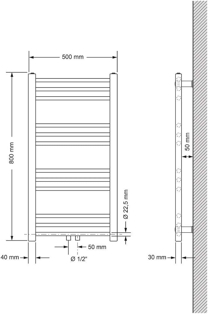 Heizk/örper Handtuchw/ärmer Handtuchtrockner gebogen mit Mittelanschluss Wei/ß 750 x 1500 mm ECD Germany Badheizk/örper