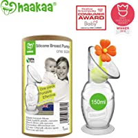 Haakaa Breast Pump Manual Breast Pump Silicone Pump Milk Saver with Suction Base and Flower Stopper Combo 100% Food Grade Silicone BPA Free (5.4oz/150ml) (Orange)