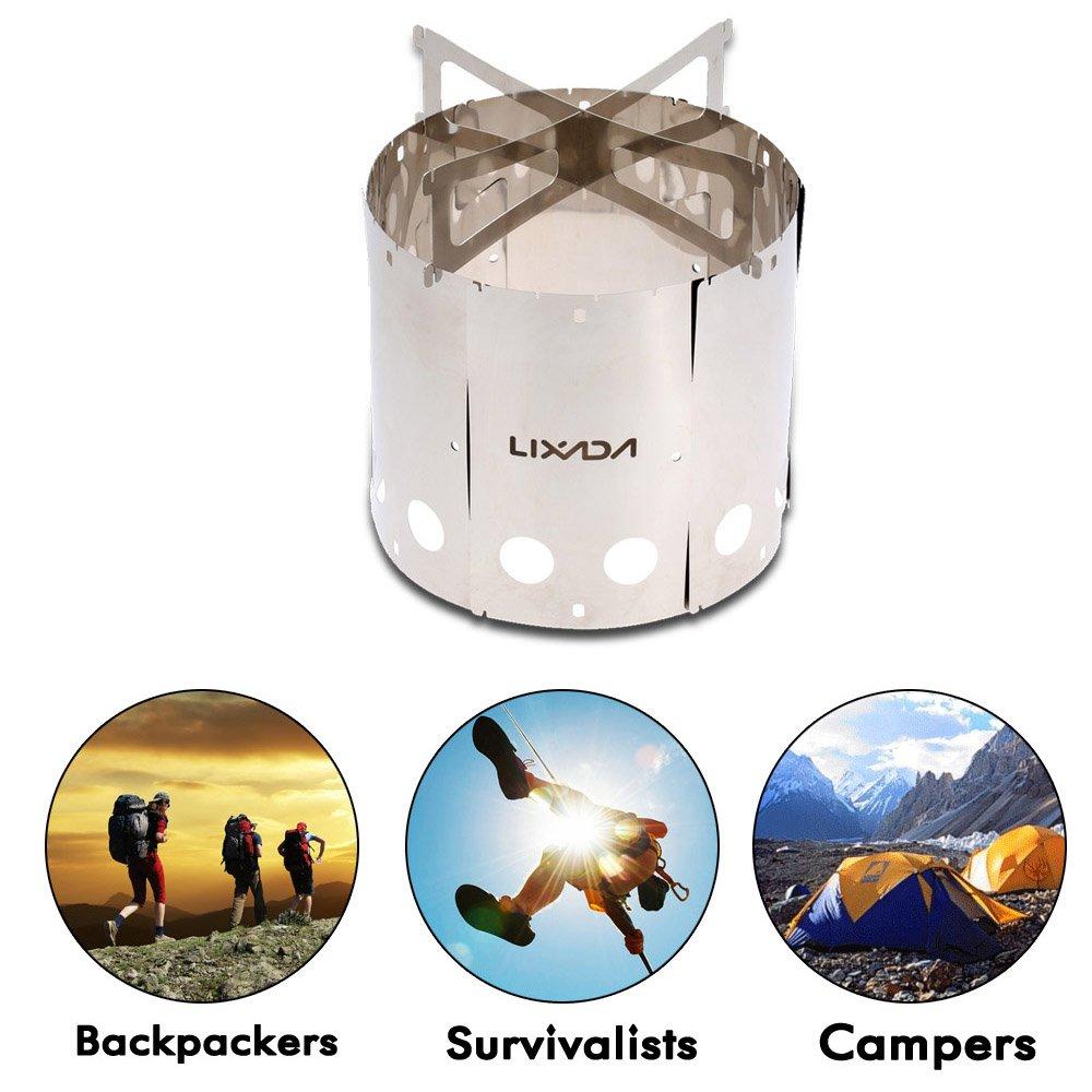 Lixada Portable r/échaud de randonnee pique-nique camping r/échaud /à bois avec sac de rangement