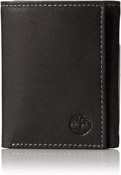 Timberland Men's Leather Trifold Wallet with ID Window