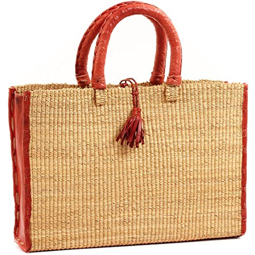 Baskets of Africa Fair Trade Ghana Bolga African Dye-Free Business Basket 15-16 Across, 58247 by Baskets of Africa