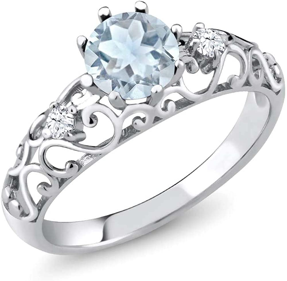 Gem Stone King Sky Blue Aquamarine 925 Sterling Silver Women's Engagement Ring (0.83 Ct Round Cut Available 5,6,7,8,9)
