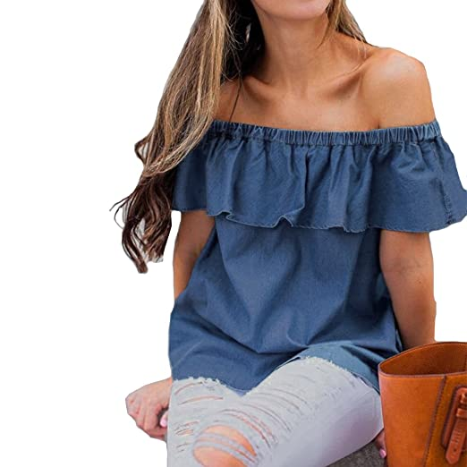 29358606ad5a Tubaozi Women Summer Off The Shoulder Blouse Vintage Ruffles Denim Shirts  Tops (Blue