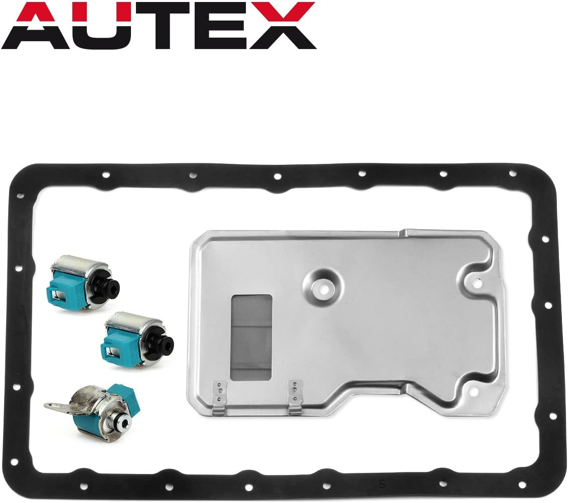 AUTEX A340E A340F A340G A340H Transmission Shift LockUp TCC Solenoid Filter Gasket Kit Set of 5 Compatible With Toyota Lexus 1985-UP