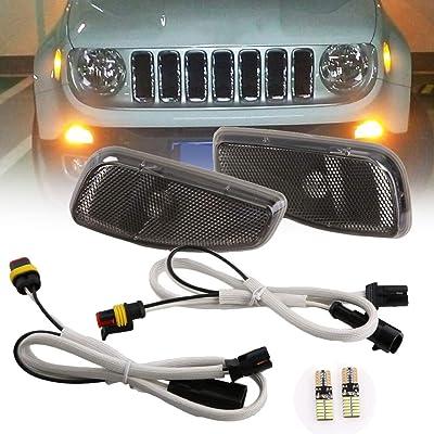 BICYACO Turn Signal LED Lights Smoked Lens Amber LED Lamps Update Kit W/T10 Bulb for Jeep Renegade 2014 2015 2016 2Pcs -Black: Automotive [5Bkhe1501584]