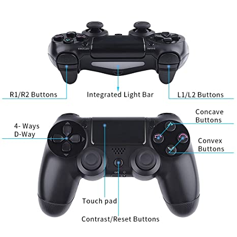 Wireless Controllers for PS4 Playstation 4 Dual Shock,V2 Bluetooth Remote  Joystick Gamepad for PC PS Pro Android TV with USB Charge Cable(Blue)