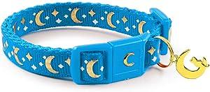waaag Pet Collar Gold Moons and Stars Cat Collar, Safety Breakaway Cat Collar, Glow in The Dark
