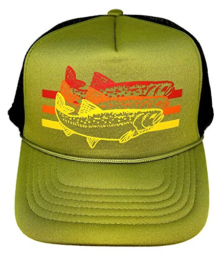 ThatsRad Trout Striped Snapback Mesh Trucker Hat Cap Fly Fishing (Trucker Green)