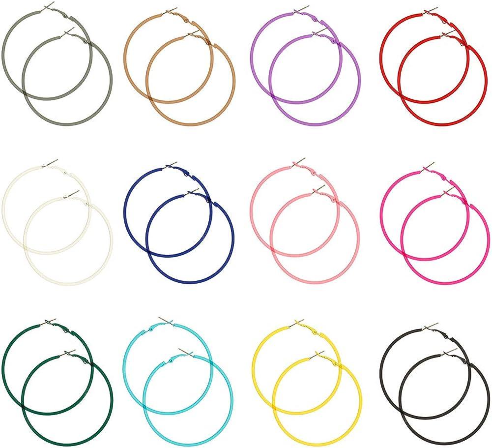 Uspeedy- 12 Pairs 80s Hoop Earring Retro Earrings Dangle Earrings Colorful Neon Earrings