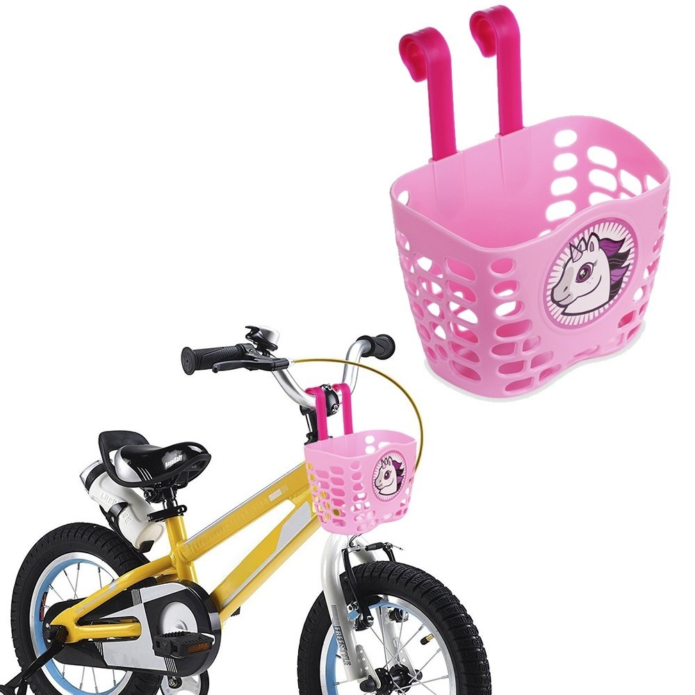 Mini-Factory Kid's Bike Basket, Cute Cartoon Unicorn Pattern Bicycle Handlebar Basket for Girls (Pink)