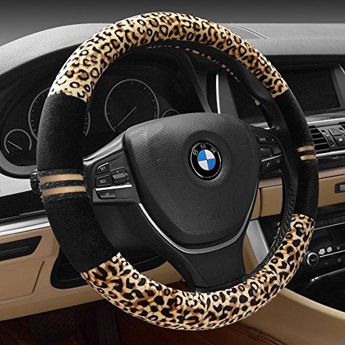 [해외]FULL WERK 럭셔리 레오파드 인쇄 유행 봉 제 자동차 스티어링 휠 커버, 유니버설 피트, 자동차 SUV를 위해 따뜻한 유지/FULL WERK Luxury Leopard Print Fashionable Plush