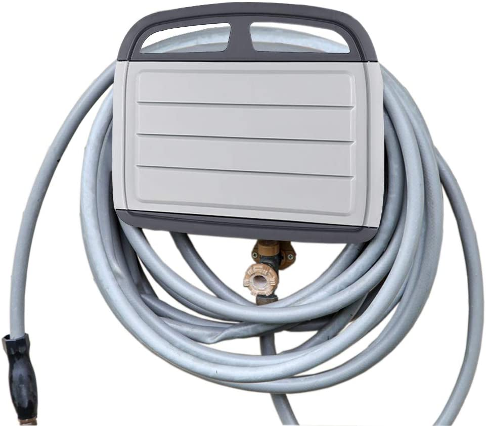 Wall Mount Hose Holder Wall Mount Hose Reel Includes a Compartment for Storing Hose Attachments Wall Mounted Garden Hose Storage Caddy Grey