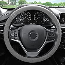 FH GROUP FH3002 Silicone w. Nibs & Pattern (Massaging grip) Steering Wheel Cover, Gray Color -Fit Most Car, Truck, Suv, or Van