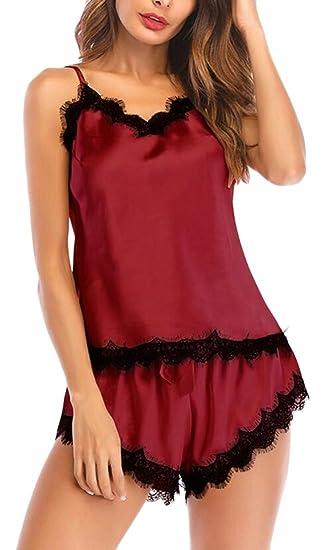 c72fa5c128 WSPLYSPJY Women Lingerie Lace Nightgown Sexy Sleepwear V Neck Pajamas Set  Nightwear at Amazon Women s Clothing store