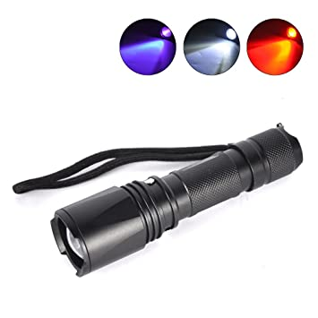 Boruit Zoomable 3 LED Blubs Weiß Rot UV Licht Taschenlampe Jagd ...