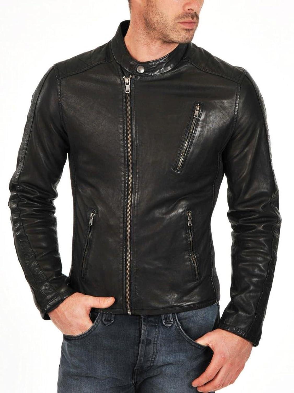 Men Leather Jacket Biker Motorcycle Coat Slim Fit Outwear Jackets AUK074
