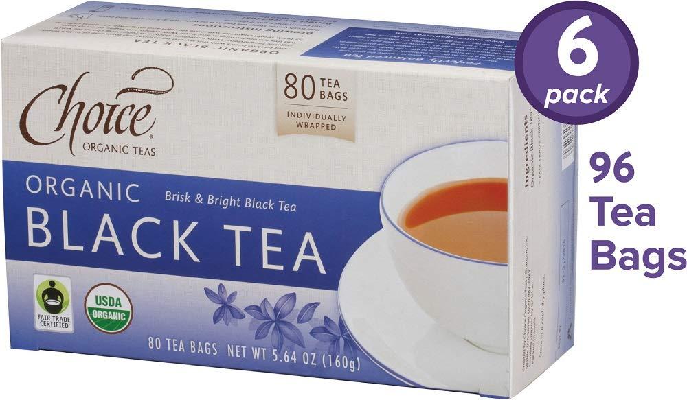 Choice Organic Teas Black Tea, 6 Boxes of 80 (480 Tea Bags), Value Pack