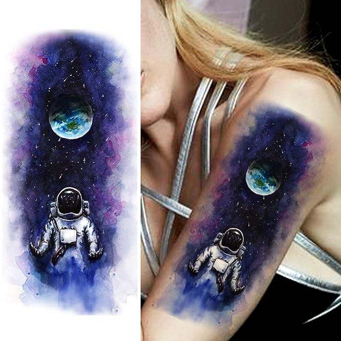 LAROI 9 Hojas Grande Acuarela Azul Astronauta Tatuajes Temporales ...