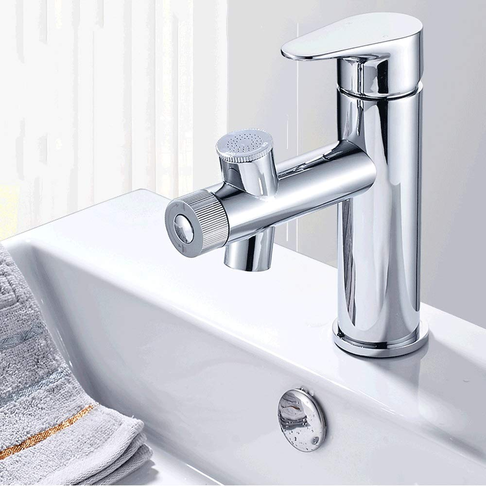 Ppigle Bathroom copper basin faucet hot and cold wash basin single hole faucet double water wash basin faucet Double water facial SPA to send 60cm water inlet hose