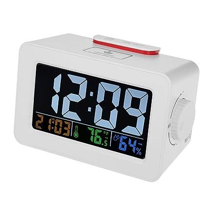 Digital Termómetro Higrómetro Reloj Temperatura Humedad Metro Alarma Reloj Dormitar Iluminar