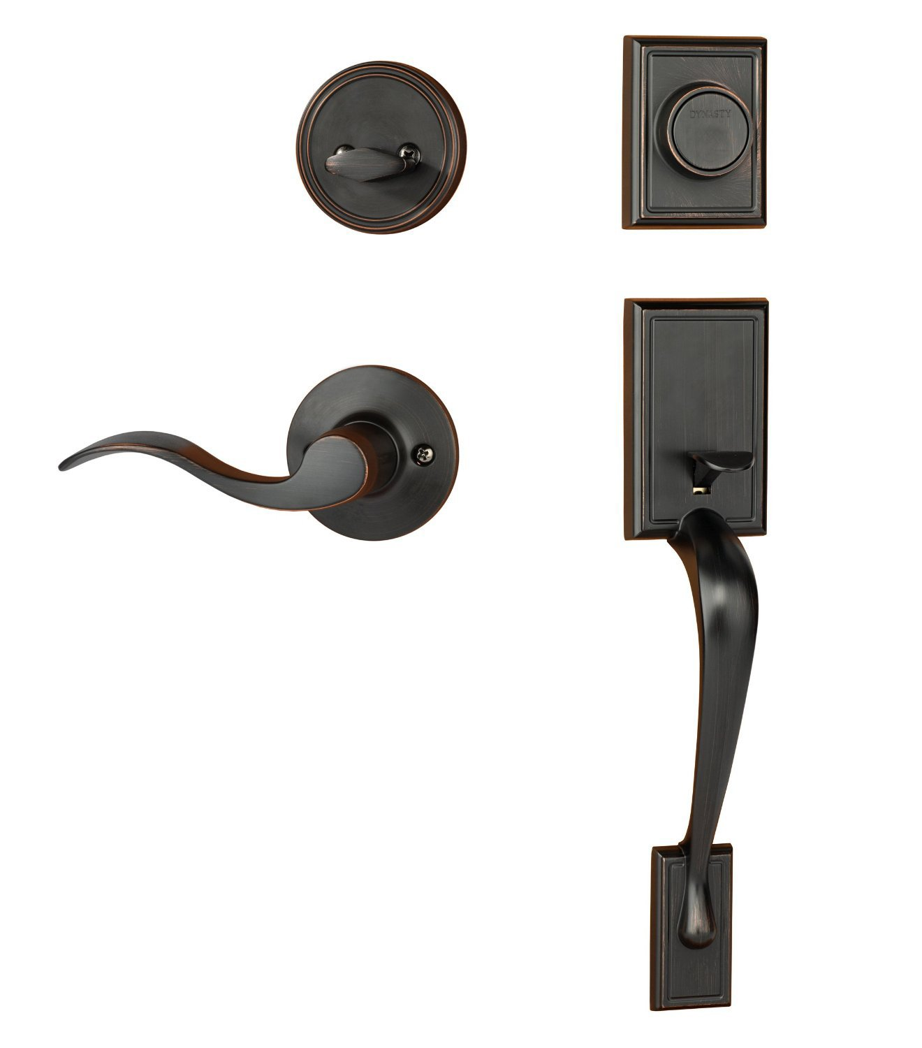 Dynasty Hardware RID-HER-405-12PR Ridgecrest Front Door Dummy Handleset, Aged Oil Rubbed Bronze, with Heritage Lever, Right Hand