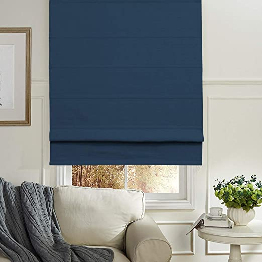 Artdix Roman Shades Blackout Window Shades - Navy Blue 20 W x 36L Inches  Faux Linen Fabric Custom Solid Lined Roman Shades Blinds for Windows,  Doors, ...