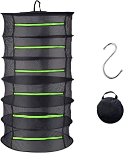 GLBSUNION Herb Drying Rack Hanging Net Dryer 6 Layer 2ft Black Collapsible Durable Mesh Green Zippers Hydroponics Dry Rack Net, Bonus Hook and Storage Bag for Gardens Orchards Grow Tents Closets
