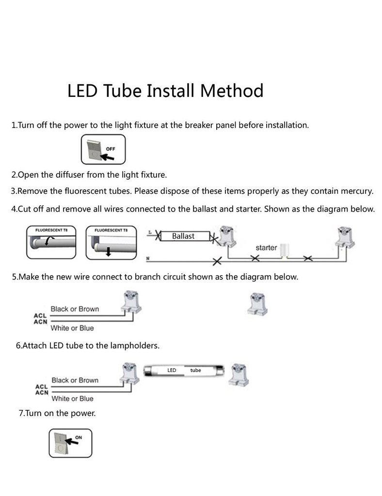 Hl 50 Pack Of T8 Led Fluorescent Tube Light 4ft 48 Frosted Cover Electrical Wiring Diagrams Connecting 2 Lamp Lights 16w 36w Equivalent 5000k Daylight White Single Ended Power G13 Lighting Fixture