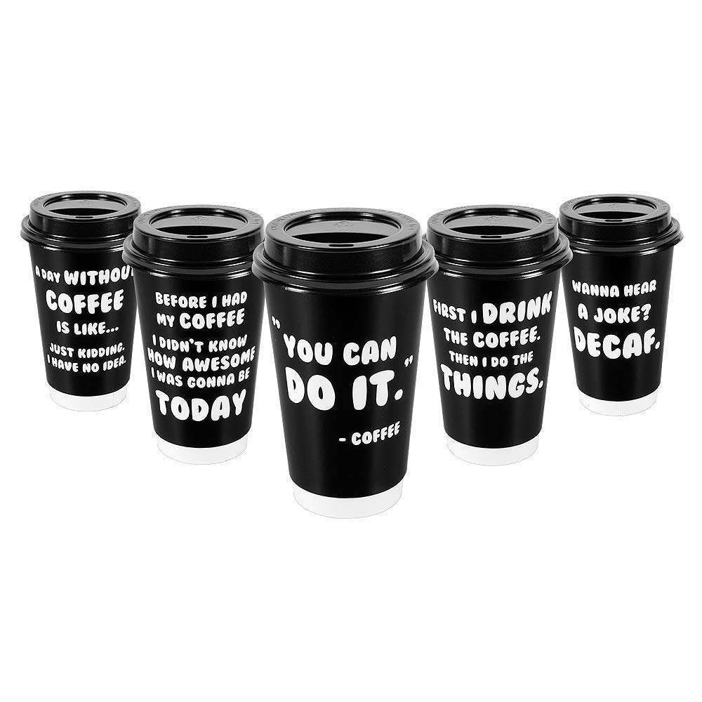 Premium 16oz Disposable Paper Coffee Cups With Lids (50ct) - 5 Fun Quotes in Each Pack - Make Your Own Coffee or Tea With These Paper Coffee Cups - Insulated Double Wall - No Need For Sleeves