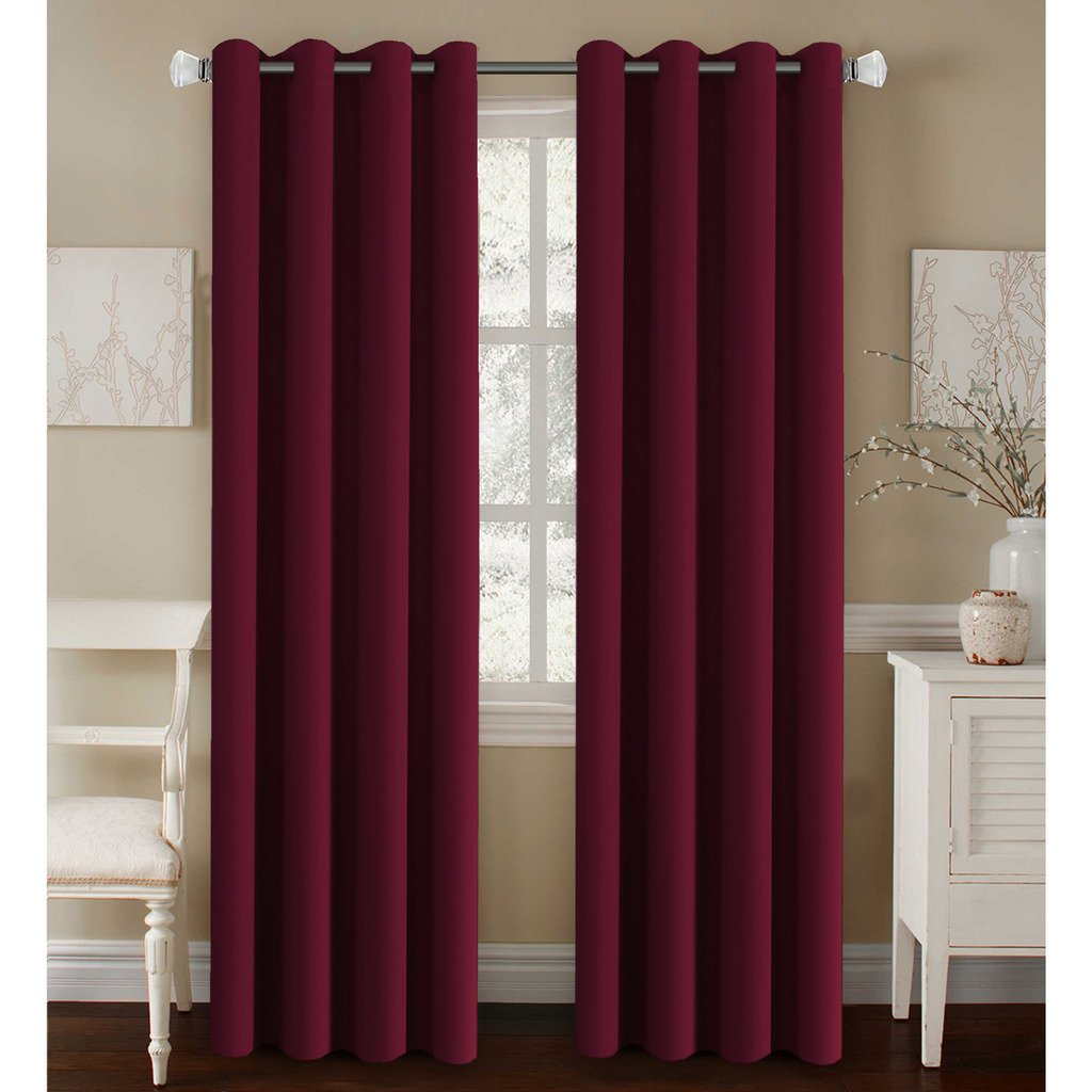 H.Versailtex Elegant Grommet Blackout Thermal Insualted Solid Curtains / Drapes,Window Treatment Panels (Set of 2, Burgundy Red