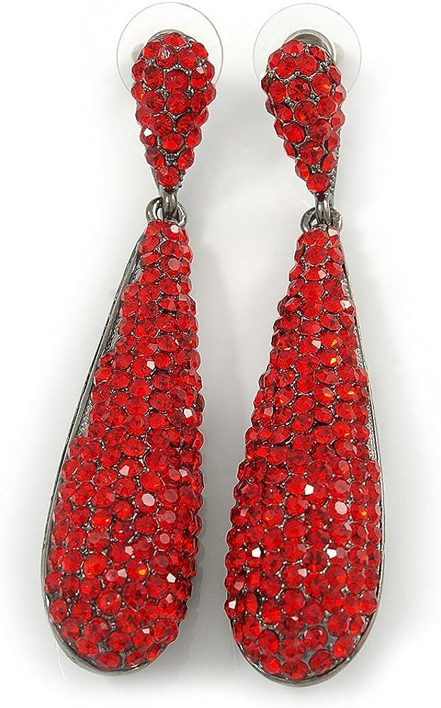 Pendientes de lágrima con diamantes rojos de rubí en tono negro metálico, 75 mm de largo