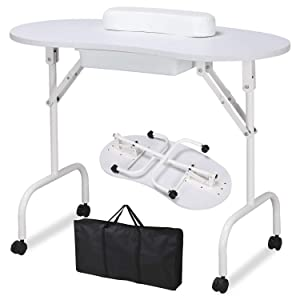 Yaheetech 37-inch Portable & Foldable Manicure Table Nail Desk Workstation with Large Drawer/Client Wrist Pad/Controllable Wheels/Carrying Case for Spa Beauty Salon White