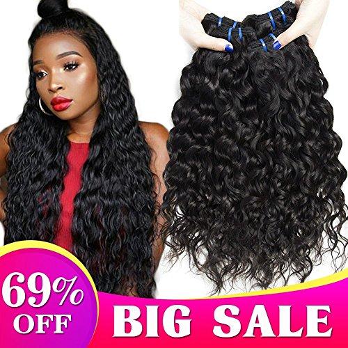8A Wet and Wavy Human Hair Weave Bundles Brazilian Water Wave Bundles Virgin Brazilian Curly Hair Bundles 100% Unprocessed Water Wave Curly Human Hair Bundles 16 18 20 Inch Natural Color