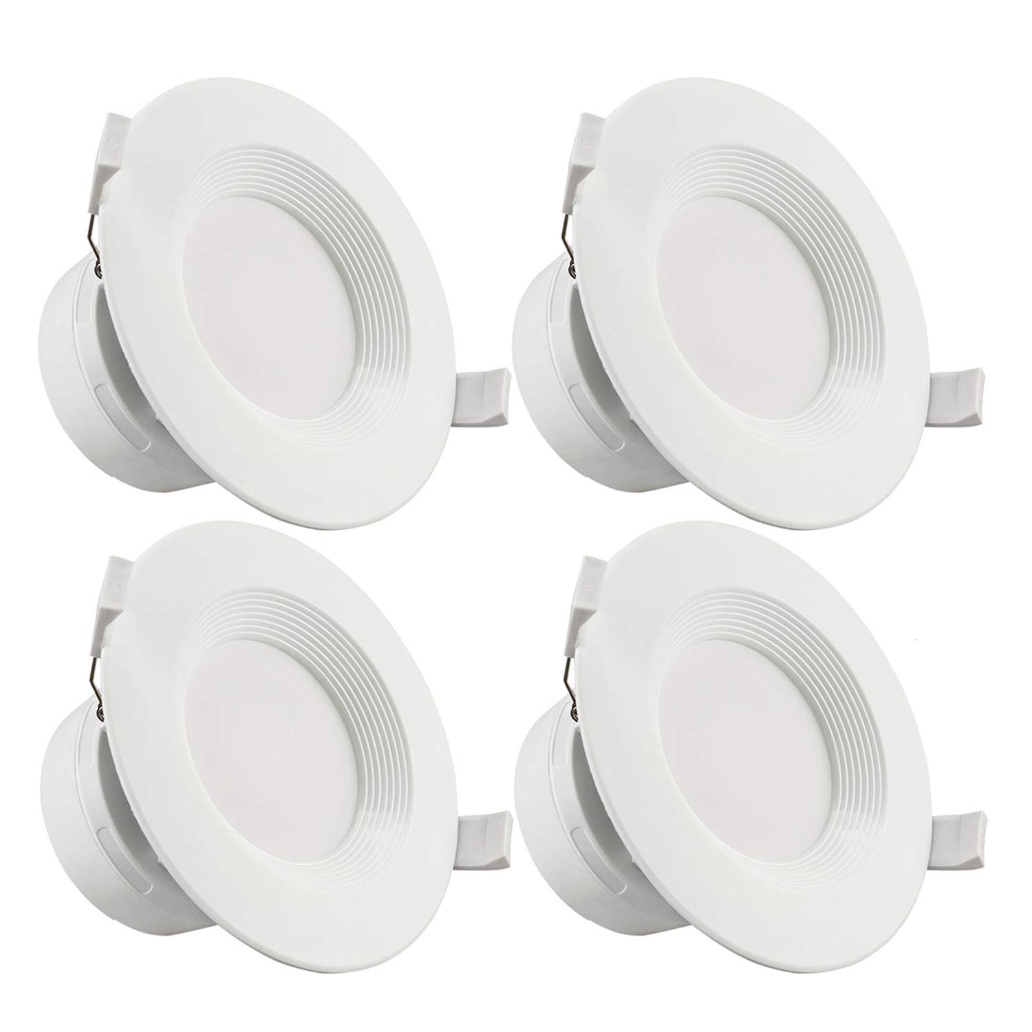TORCHSTAR 4 Pack 4 Inch LED Recessed Downlight with Junction Box, 7W (60W Eqv.) Dimmable LED Ceiling Light Fixture, IC-Rated & Air Tight, Wet Location, 5000K Daylight, UL-Listed, 5 Years Warranty