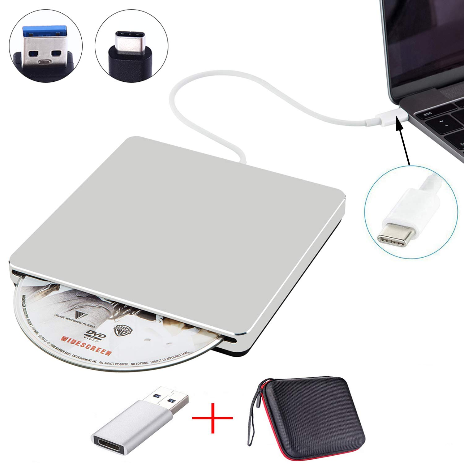 NOLYTH External DVD Drive USB C Slot-in External CD Drive Player Burner for Laptop/Mac/MacBook Pro/Air/Windows Made with Alumium Alloy Supported DVD±RW/CD±RW by NOLYTH