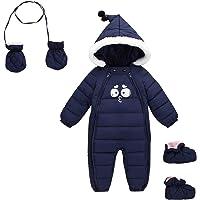 Happy Cherry Baby - Mono de nieve con capucha para bebé, forro polar con pies, guantes con cremallera