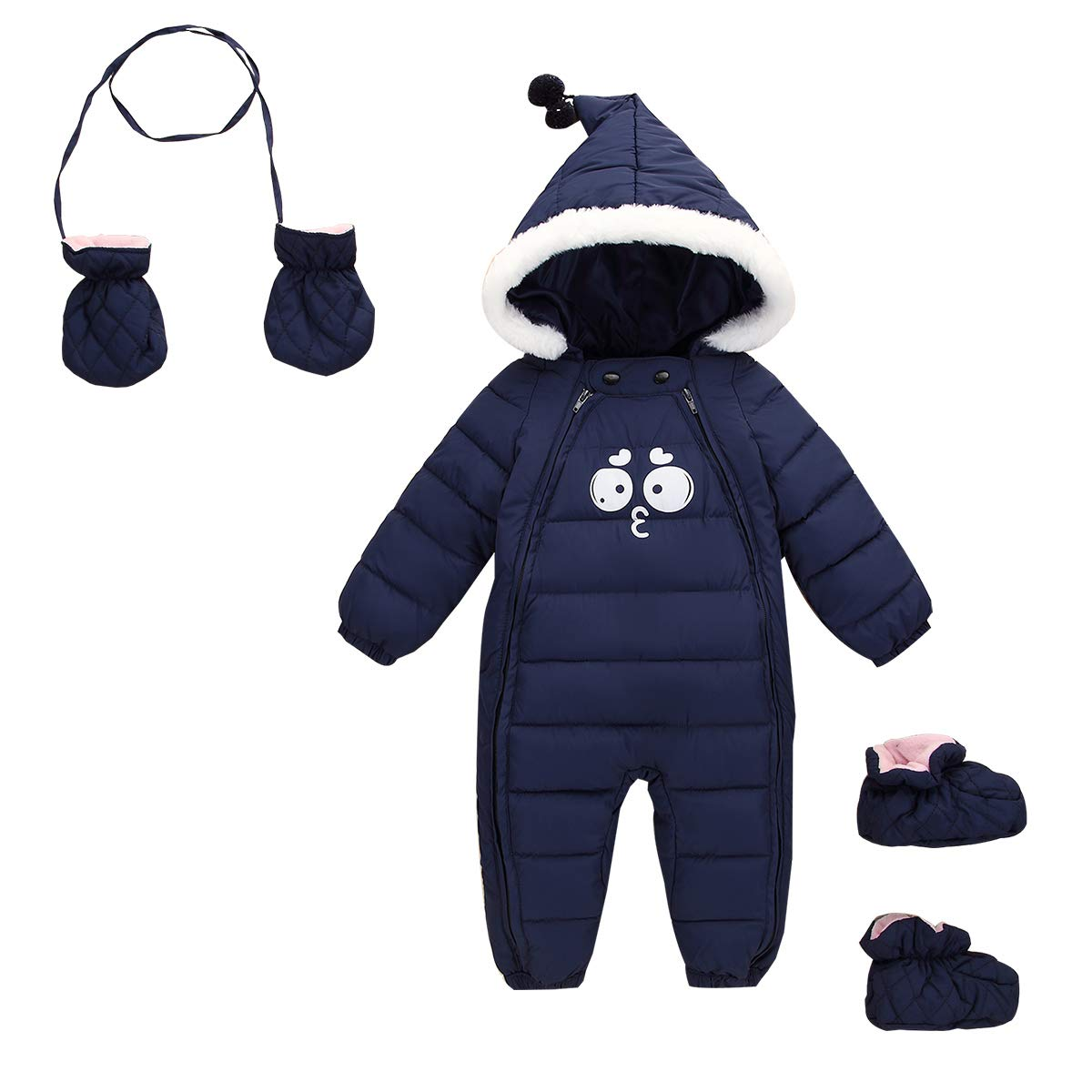 Happy Cherry Newborn Toddler Baby Clothes Girls Boys Romper Winter Jumpsuit Thicken Cotton Snowsuit 3 Pieces 6-12 Months Dark Blue by Happy Cherry