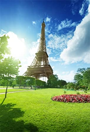 Amazon Com Aofoto 6x8ft Eiffel Tower In Paris Background Sunny Spring Day France Grassland Photography Backdrop Kid Adult Artistic Portrait Photo Studio Props Wedding Wallpaper Camera Photo