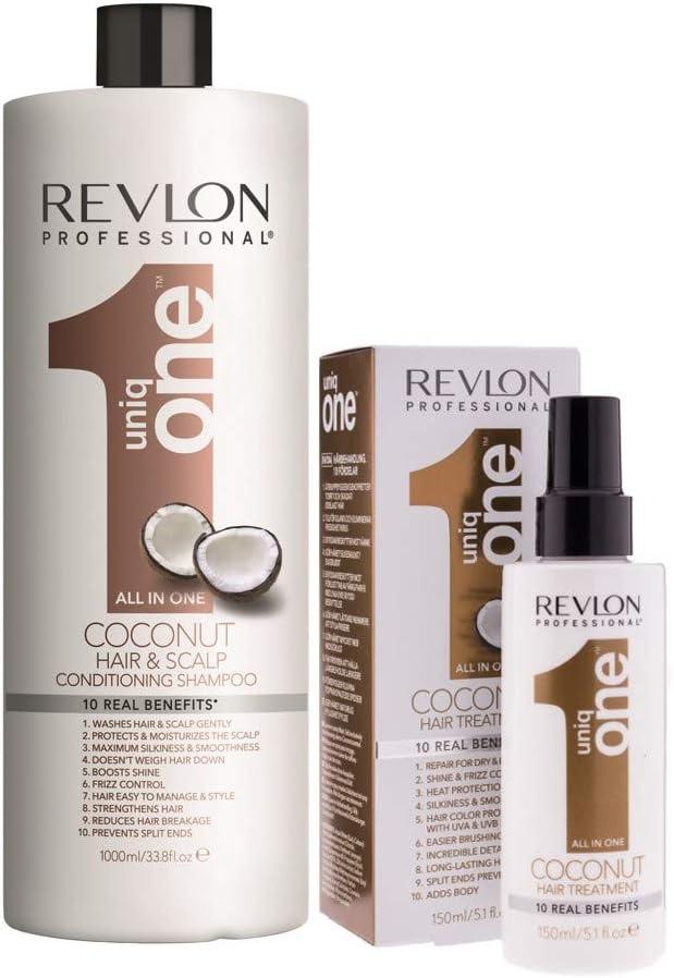 Pack Revlon Uniq One Champu Coconut 1000ml + Tratamiento Coconut 150ml