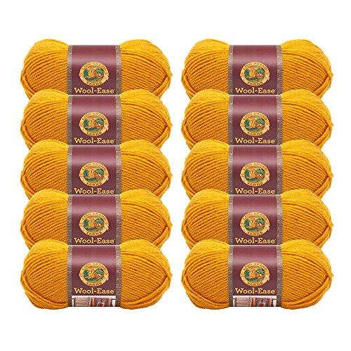 (10 Pack) Lion Brand Yarn 620-171 Wool-Ease Yarn, Gold -