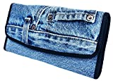 Bijoux De Ja Women Blue Denim Money Flap Roomy Wallet Wristlet Purse Clutch BMW014