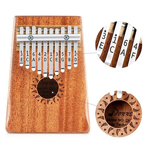 Donner Kalimba Thumb Piano 10 Keys, Kids Musical Instrument Thumb Piano, Portable African Wood Finger Piano Mbira Sanza…