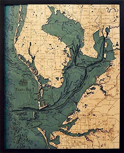 Tampa Bay Area Map - Tampa Bay, Florida 3-D Nautical Wood Chart, 24.5