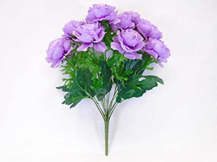 Amazon phoenix silk ranunculus bush 12 artificial silk flowers phoenix silk ranunculus bush 12 artificial silk flowers 18quot bouquet 8206 purple mightylinksfo