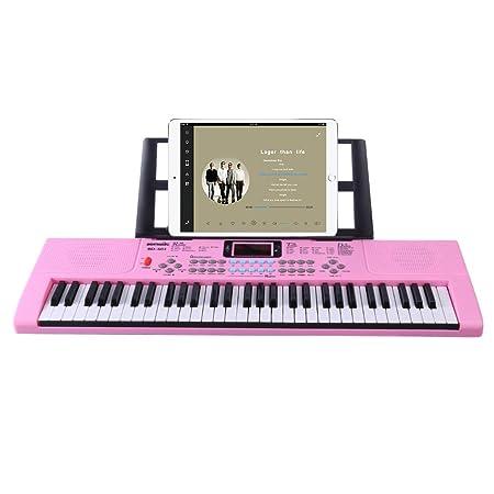 YAKOK Piano Infantil, 61 Teclas Electrico Piano Bebe Teclado con Microfono Juguetes Musicales para Niños y Niña 3-12 años, USB/Baterias (Rosa): Amazon.es: ...
