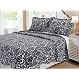 Textiles Plus 100-Percent Cotton Quilt Set with Shams, King, Damask, Black and White