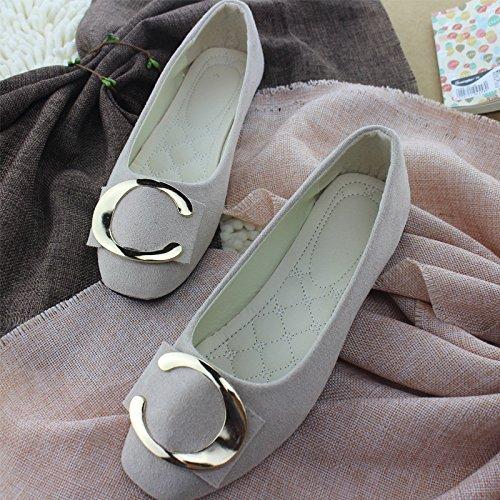 LEIT Mujer Zapatos Casual Hebilla Metálica Delgada Superficial Plana Boca Abajo Beige